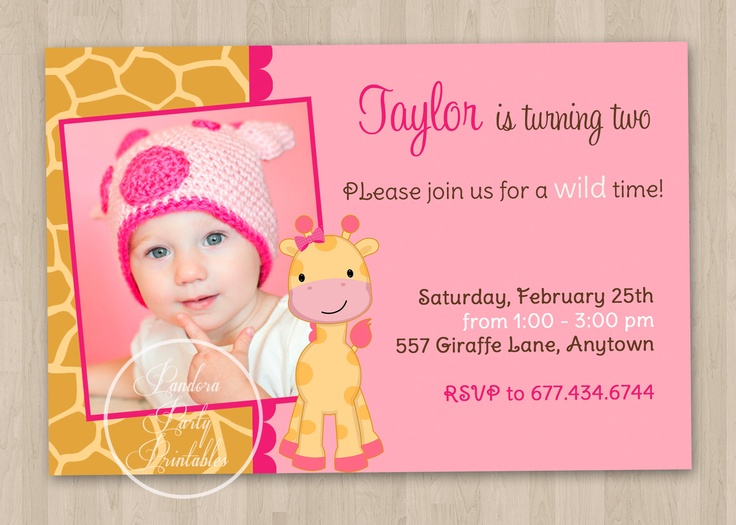 Best First Birthday Party Giraffe Theme Images On Pinterest - Email invitation for first birthday party