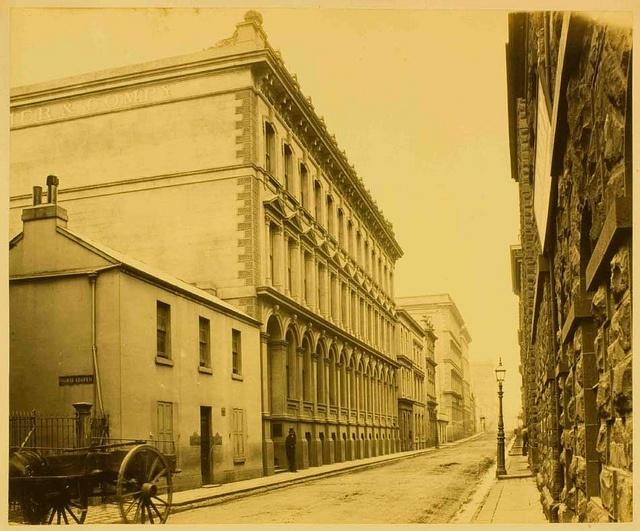 Albumen print photograph of Little Flinders Street East (later Flinders Lane), Melbourne, 1870s