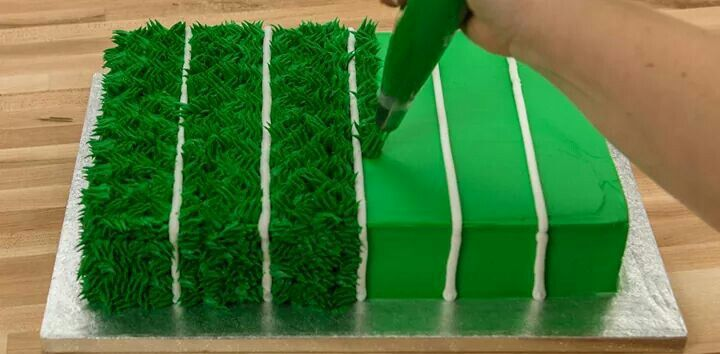 Football field cake (could customize for any outdoor sport on grass)