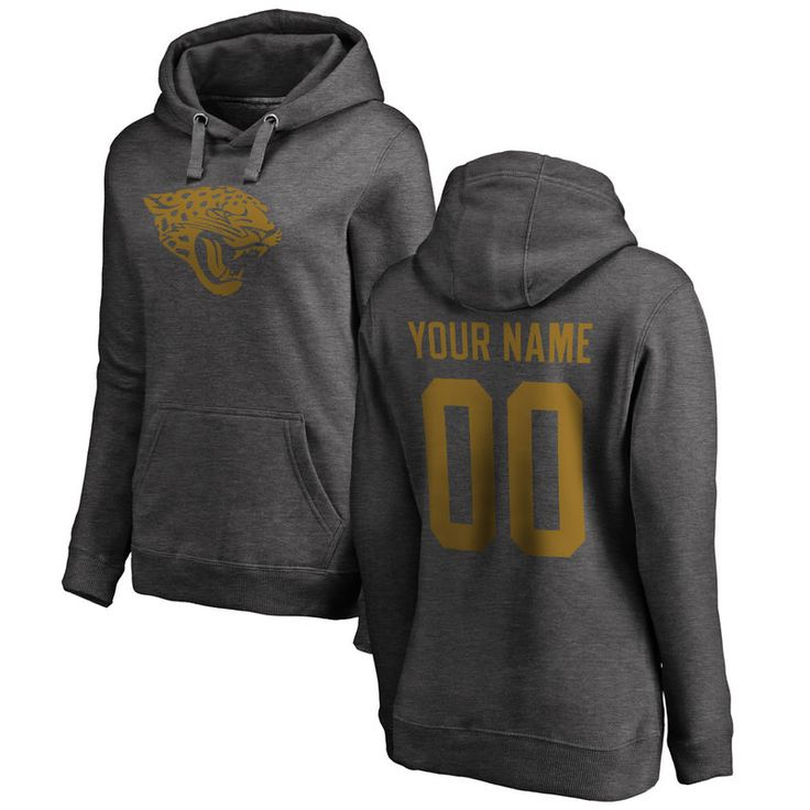 Jacksonville Jaguars NFL Pro Line by Fanatics Branded Women's Personalized One Color Pullover Hoodie - Ash