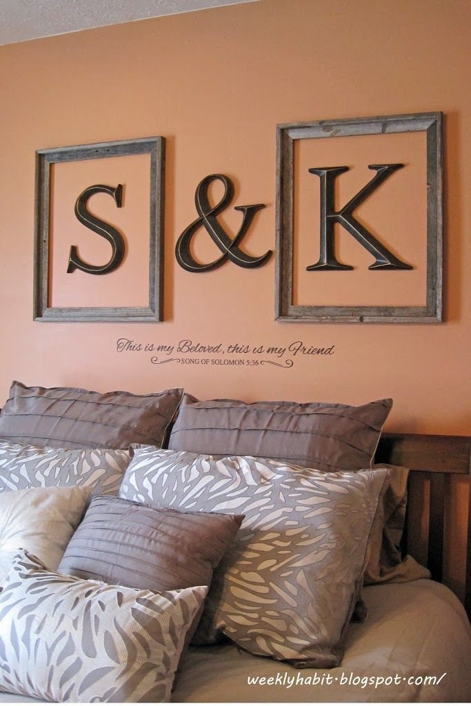 "Mini Bedroom Makeover - My most popular pin! Use initials centered in picture frames above the bed. Finish with a vinyl quote below! I used ""This is my beloved, this is my friend."" from Song of Solomon"