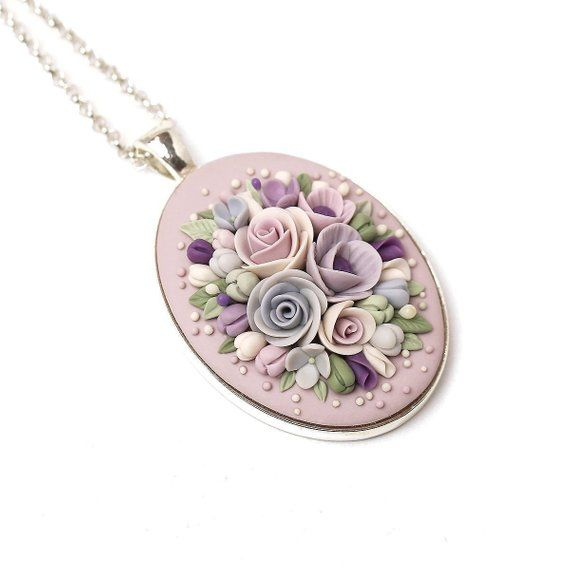 Dainty Floral Necklace Polymer Clay Necklace Pendant Flower Clay Applique Handmade Statement Jewelry Rose Necklace Gift For Sister Gift Wife – احمد ملکیان