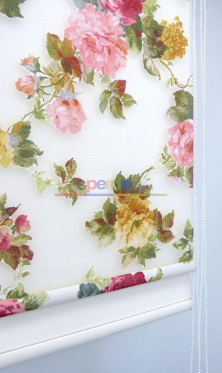 Çiçek Gül Desenli Yakma Tül Çiftli Sistem İkili Perde 145-1