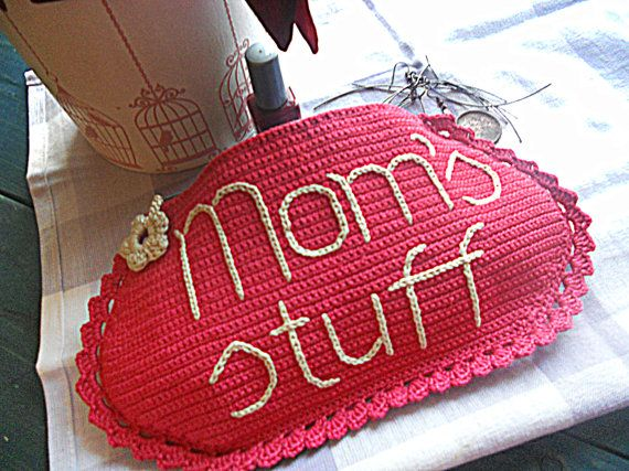 Ready to ship  This personalized crochet cosmetic bag can be excellent gift for your mother. The perfect thing to remind your mom everyday that she