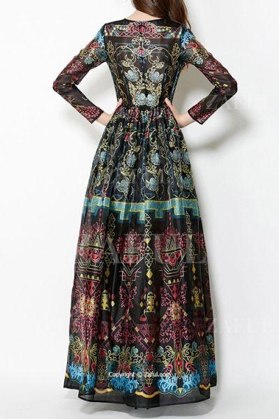 Colorful Vintage Print Maxi Voile Dress BLACK: Maxi Dresses | ZAFUL