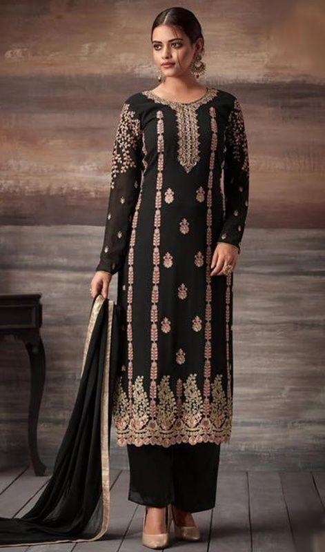 f919190ef1 Black Color Georgette Pant Style Suit #netpantstylesuit  #silkembroideredpantstylesuit shop at:http:/
