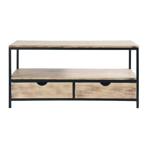 Mueble de TV industrial negro de metal y madera maciza An. 117 cm. maisonsn 169