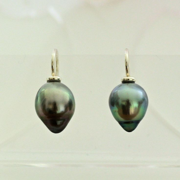 Perlen Ohrringe Tahiti Perlen echte Zuchtperlen Tropfen 10 x 13 mm grau-grün