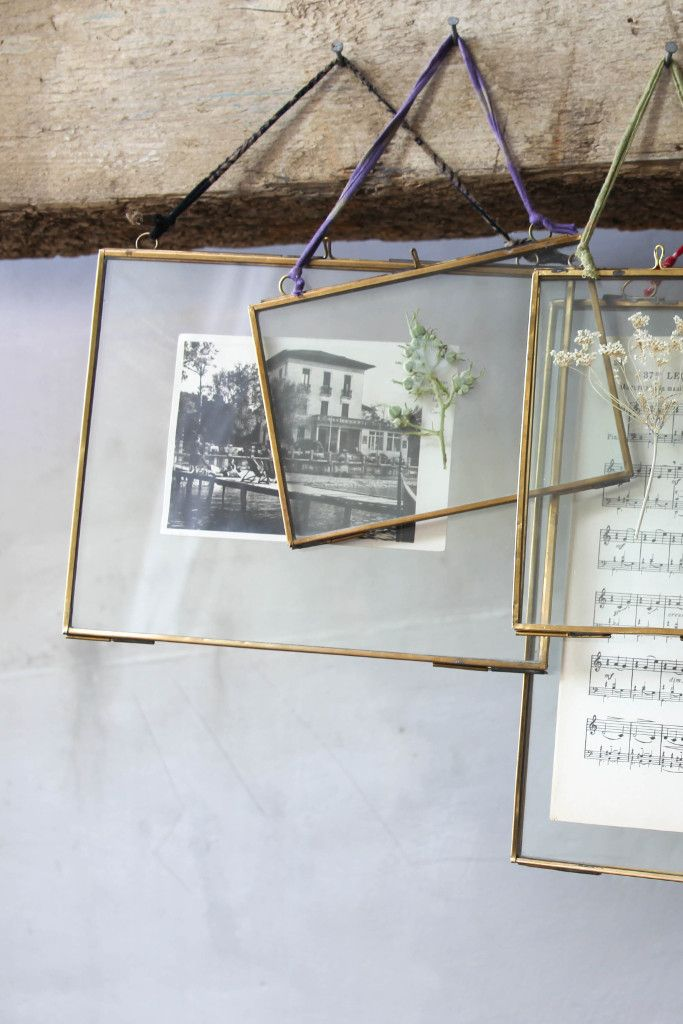 Double sided picture frame: hanging brass                                                                                                                                                                                 More