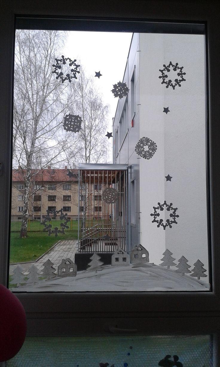 zimní výzdoba okna