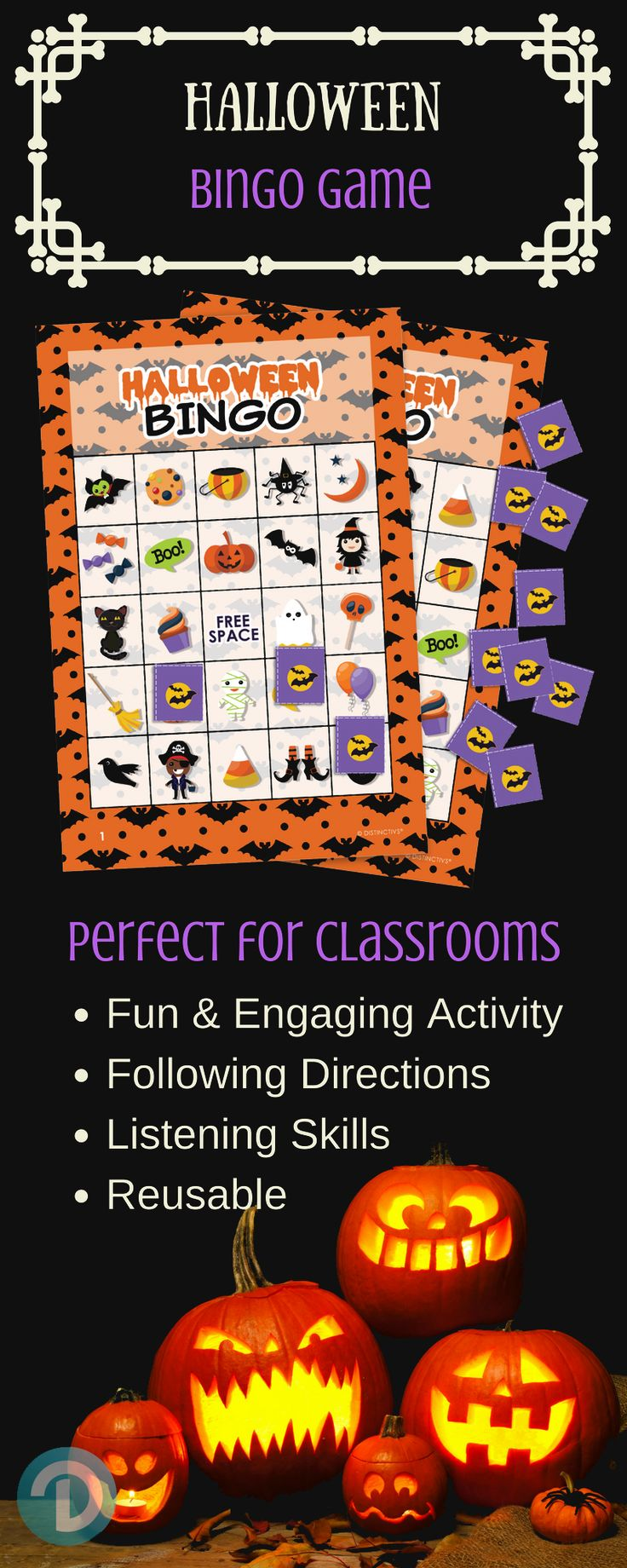 Halloween Bingo Game Set - for up to 24 Players.  Perfect Family-FriendlyHalloween Game for Children. #halloweenbingo #halloweenkids #halloweenparty