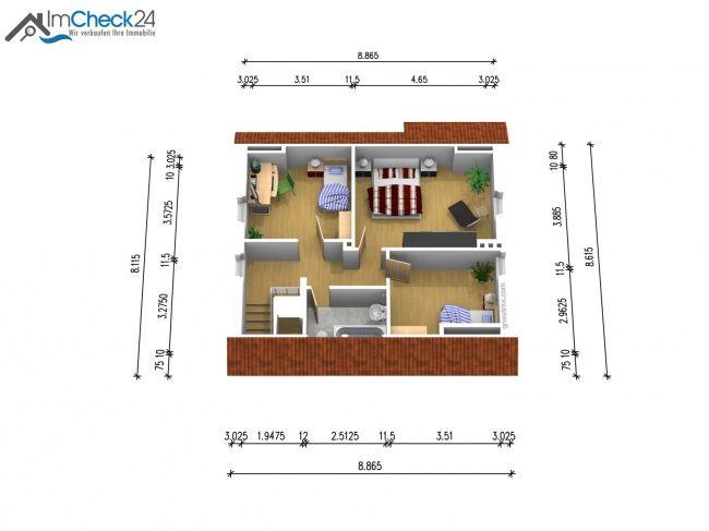 Grundriss des ausgebauten Dachgeschosses