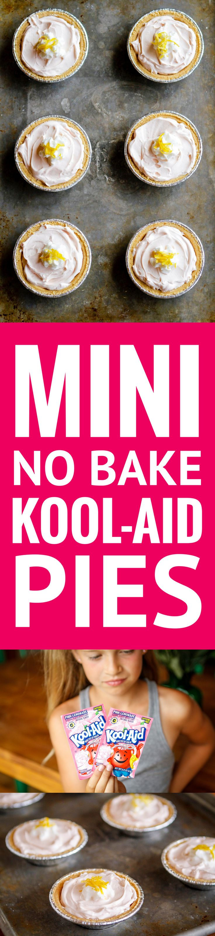 No Bake Kool-Aid Pie -- these mini Kool-Aid pies are so super easy to make that the kids can throw them together entirely by themselves... and they taste amazing! | kool aid pie recipe | kool aid pie recipe simple | kool aid pie recipe graham crackers | kool aid pie recipe summer | kool aid pie recipe cool whip | find the recipe on unsophisticook.com