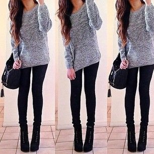 Grey top with black jeans and black boots …