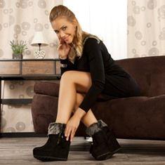 Bottines compensées noir femmes taille 39 talons de 12 cm