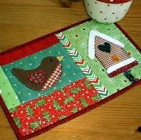 ~ Quilting: Winter Birdhouse Mug Rug