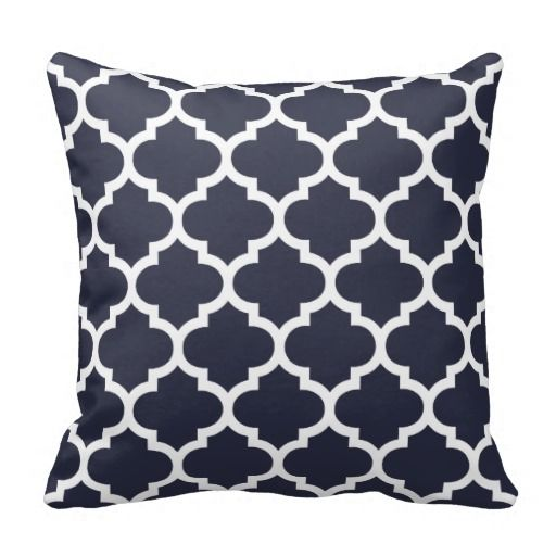 Quatrefoil Pillow - Navy Blue Pattern