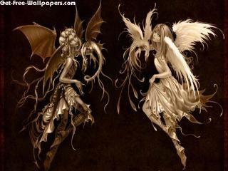Angel Devil Girl Tattoo Angel And Devil 3D & Digital Art