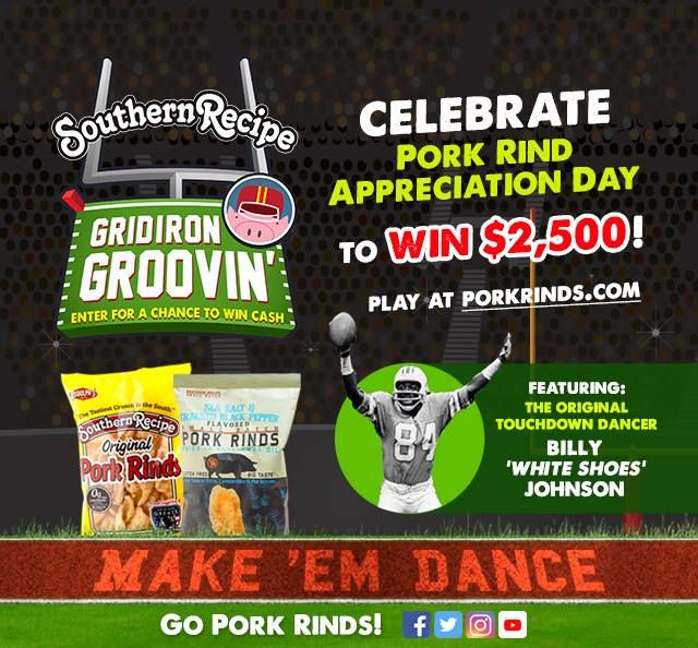 Every day that you enter you increase your chances of #winning $2,500 plus a year supply of #PorkRinds! What are you waiting for? Enter now!  . . . #Snacks #Protein #TravelSnacks #Recipes #Recipe #PorkRind #PorkRinds #Delicious #foodie #PorkRindAppreciationMonth #GridironGroovin #Touchdown #Contest #Win #Football #SuperBowl #BigGame