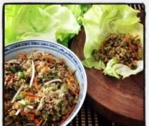 Sung Choi Bao (Kylie Kwong) - carrot, mushrooms, onion, water chestnuts, fresh coriander, celery, garlic, ginger, oil, pork mince, shao hsing wine or dry sherry, light soy sauce, sugar, oyster sauce, sesame oil, bean sprouts spring onions, salt, lettuce leaves.