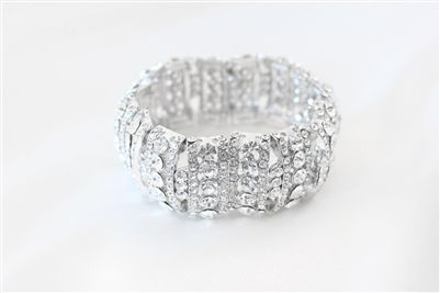 CAD$49.00 - This beautiful, simple and delicate bridal bracelet is made with clear rhinestones. Perfect for a special occasion or to a add something lovely to your party attire. Karmabridal.com