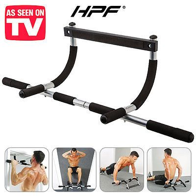 HPF Portable Chin Up Bar Home Wall Mounted Dip Pull Exercise Doorway Gym Abs