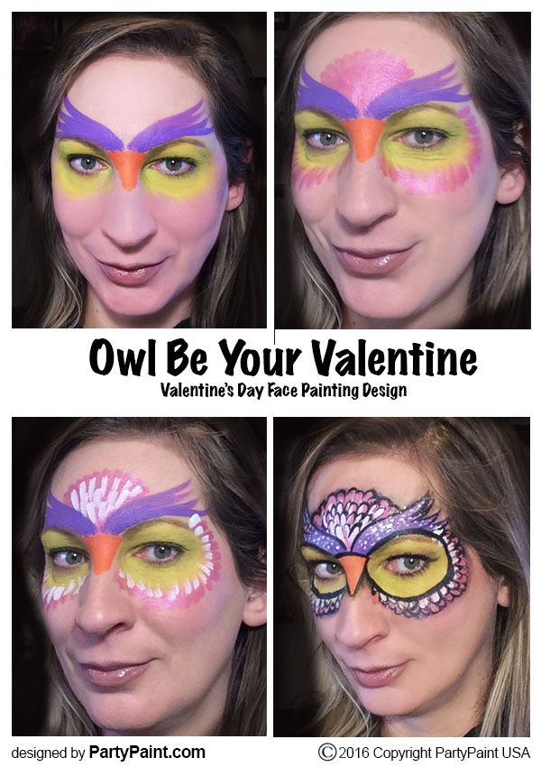 Owl face painting idea for Valentine's Day.