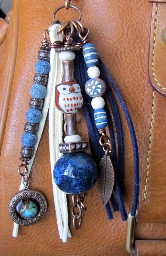 #ThePaintedCabeza ~ This handmade tassel charm can be used on your purse, backpack, zipper, wherever youd like to add some charm! Its made up of antiqued copper