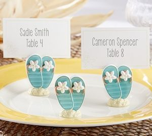 flip flop tropical flower place card holders set of 6 place holderplace cardsbeach wedding favorsbeach