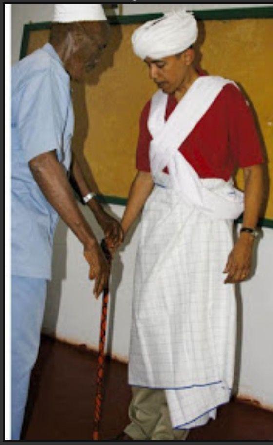 #44thPresident #BarackObama #SenatorDays Barack Obama is dressed as a Somali elder by Sheikh Mahmed Hassan during his visit to Wajir, a rural area in northeastern Kenya, August 27, 2006 #ObamaLegacy #ObamaHistory #ObamaLibrary #ObamaFoundation Obama.org