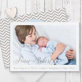 Photo baby boy birth announcement thank you card in baby blue and brown custom designed Peach Perfect Australia