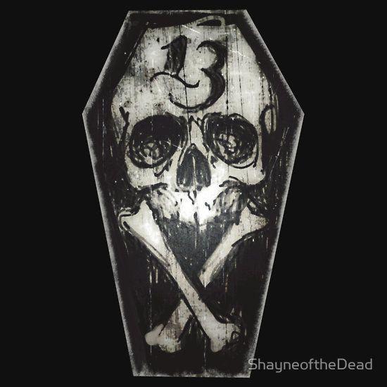 Lucky 13 skull and cross bones
