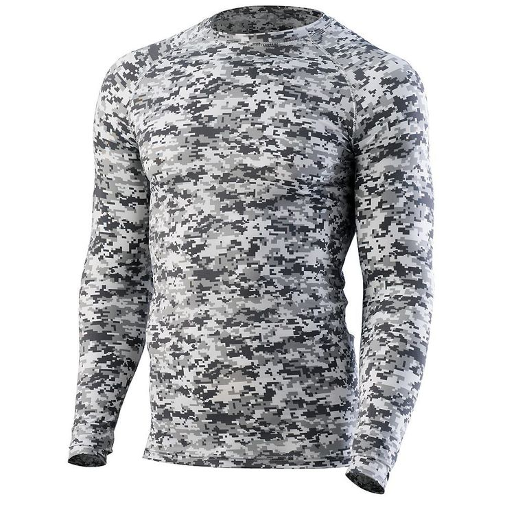 Custom Team Sportswear, Add your logo and customize for your team at Unitedteamsports.com.  Grey and White compression long sleeve.