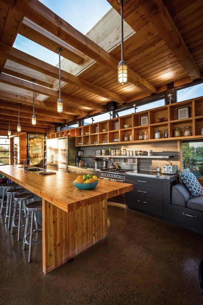 An amazing gourmet kitchen in a remote off the grid waterside home.