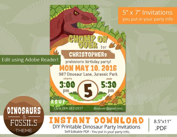 29 best printable party packs images on pinterest party packs dinosaur birthday invitations dinosaur invitation dinosaur party edit yourself dinosaur birthday instant download adobe reader solutioingenieria Images
