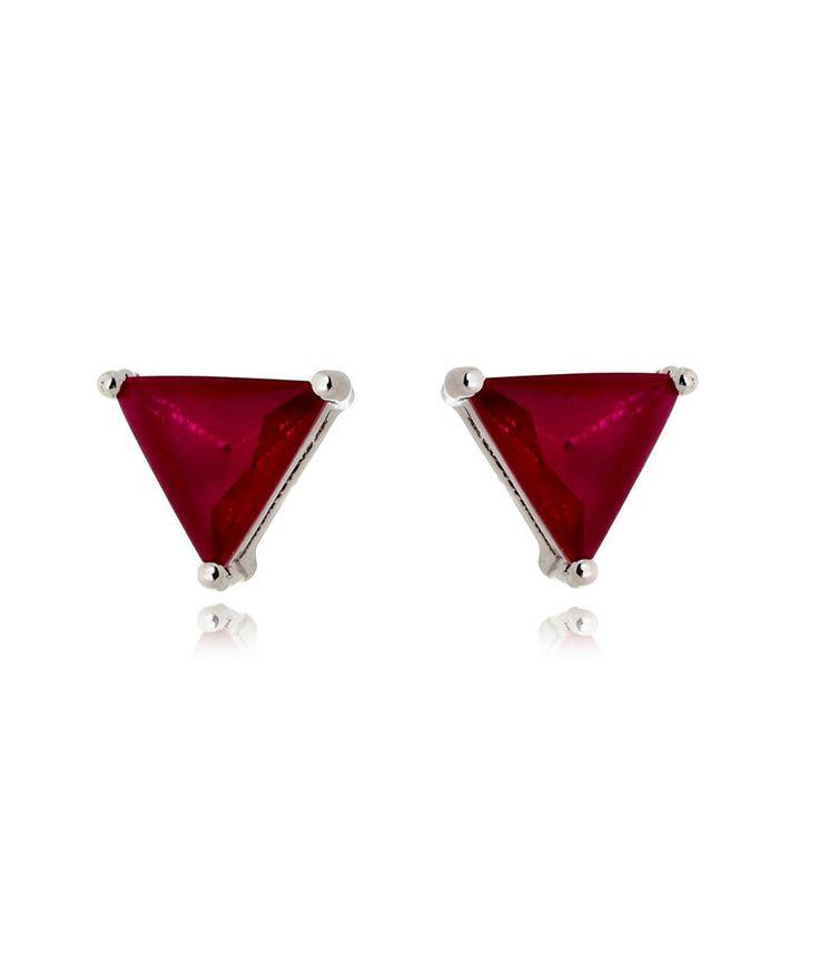 Brinco de triângulos rubi leitoso semi joias geometricas