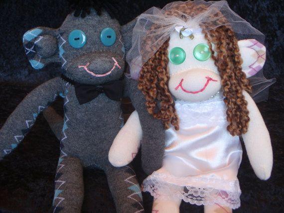 Bride and Groom Wedding Sock Monkeys by TheMonkeyTrunk on Etsy, $89.00 #sockmonkey