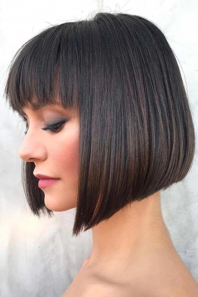 Classic Bob Haircut With French Fringe #bobhairstylesforwomen
