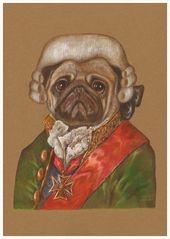 Pug. The Banker | Art Print 11.7'' x 16.5'' | Animal Century Art Collection