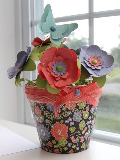 61 best stampin up paper flowers punch art images on pinterest paper flower pot mightylinksfo Choice Image