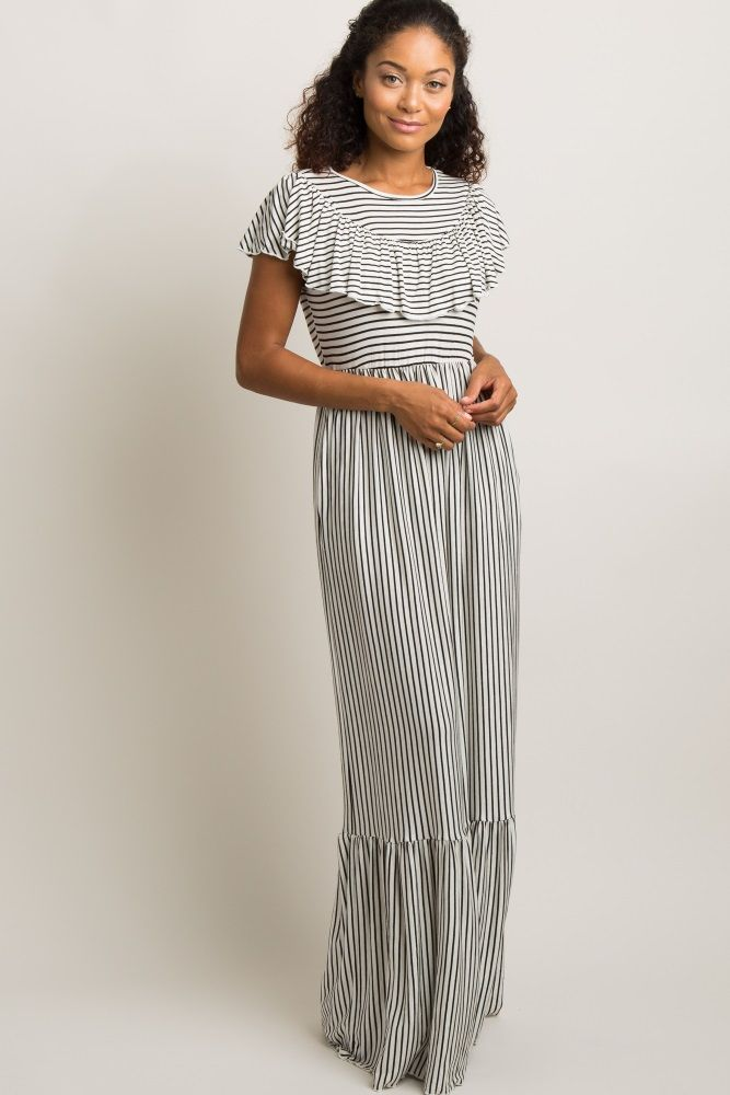 ed4c642c9f Ivory Striped Ruffle Trim Maxi Dress in 2019
