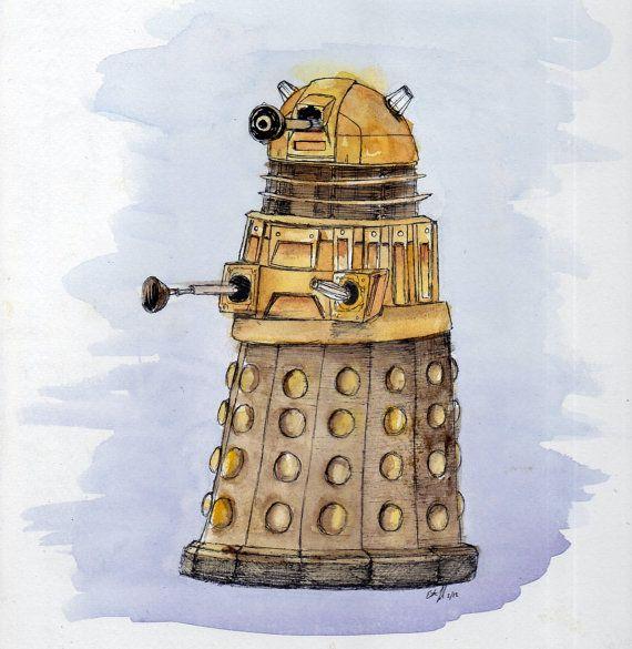 Dalek Watercolor Doctor Who Fan Art Print of от BurnsidesManor