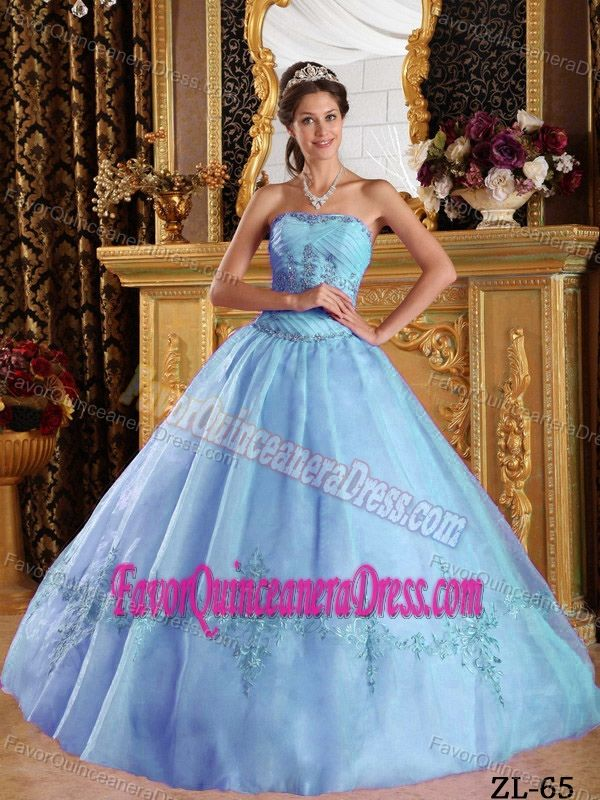 Baby Blue Floor-length Tulle Dresses for Quinceanera with Appliques