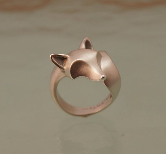 fox ring. sterling silver. satin finish with polished ears / nose/ tail tip or high polish by MiachaelTatom