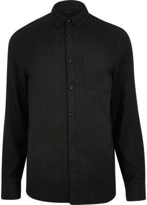 River Island Mens Black casual herringbone shirt