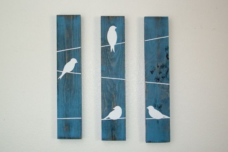 Rustic Wall Decor - Birds on a wire 3 Piece Set, SMALL by HomeFrosting on Etsy https://www.etsy.com/listing/199030822/rustic-wall-decor-birds-on-a-wire-3