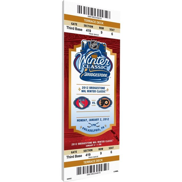 That's My Ticket 2012 Winter Classic Philadelphia Flyers v. New York Rangers Game Ticket, Team