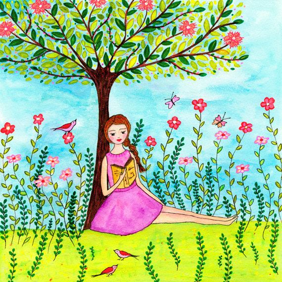 Folk Art Painting, Art Print From My Original Painting, Mixed Media Art Girl Painting for Children Decor