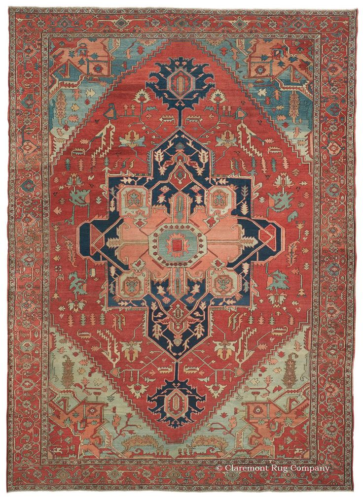 SERAPI, Northwest Persian, 9ft 10in x 14ft 0in, 3rd Quarter, 19th Century. This spectacular 19th century antique Serapi carpet perfectly expresses each one of the most treasured traditional attributes of this beloved Persian village style. First, its entrancing time-softened color: antique rose, robin's egg blue, aquamarine, and honeydew are all present, shifting to sky blue and cerulean near the top edge through the magic of expert abrash.