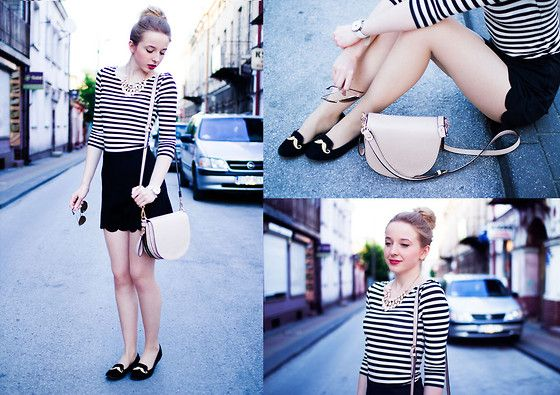 Front Row Shop Shorts With Scallop Hem, Black Loafers With Moustache, Pale Pink Bag, Pale Peach Necklace From H&M, Striped Blouse From H&M